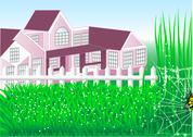 Stock Illustration of country house garden
