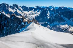 Mont blanc mountain massif summer landscape(view from aiguille du midi mount, Stock Photos