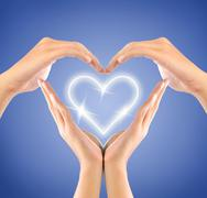 shape of love sign made by hands - stock illustration
