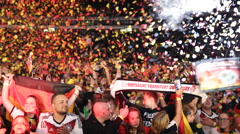 Jubilation Crowd Happiness Colored Paper Confetti Enthusiastic Young People Fans Stock Footage