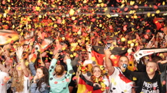 Colorful Confetti German National Flag Happy Crowd People Cheering Clapping Jump Stock Footage