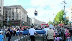 Sport gymnastics show in Kiev, Ukraine. Stock Footage