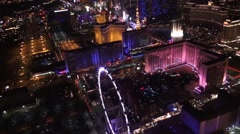 Aerial Vegas High Roller, the Linq, and Bellagio Fountains Stock Footage