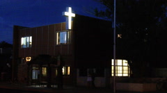 Generic Christian Mission With Cross Sign At Night - stock footage