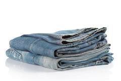 Stock Photo of blue jeans on a white background