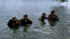 Seal Trainees in Swamp Put on Swimming Fins  Stock Footage