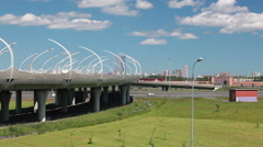 Western High Speed Diameter elevated route and turning to beltway in SPb, Russia Stock Footage