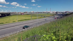 WHSD and exit from highway at Dachniy avenue, ring road in St.Petersburg, Russia Stock Footage