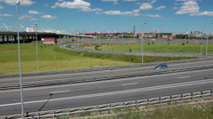 Junction of the highway route at city ringroad, Saint-Petersburg, Russia Stock Footage