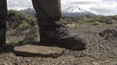 Kicking up dust while walking in northern patagonia Stock Footage