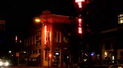 Corner Intersection Downtown Flagstaff Arizona Night Stock Footage