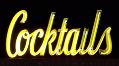 Generic Cocktails Neon Sign- Night- Close Up Stock Footage