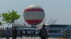 Asian side of Istanbul red-wht balloon - stock footage