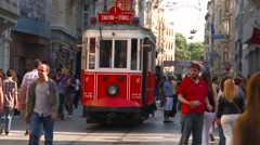 Istanbul trolley coming to station - stock footage