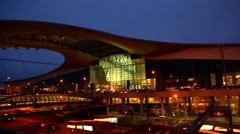 Night view to international airport Sheremetyevo, D terminal Stock Footage