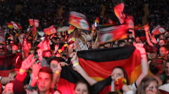 Germany Football Team Big Group Fan Happy Young Supporters Celebrating Champions Stock Footage