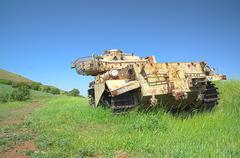 Destroyed rusty centurion shot kal tank Stock Photos