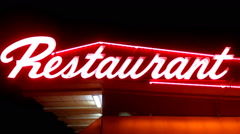 Generic Neon Restaurant Sign At Night- Close Up Stock Footage