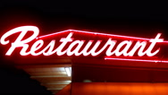 Stock Video Footage of Generic Neon Restaurant Sign At Night- Close Up