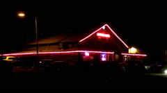 Roadhouse Bar Tavern Pub At Night Stock Footage