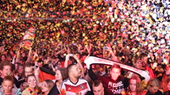 People Euphory Winning World Cup Brazil 2014 Germany Football Team Supporters Stock Footage