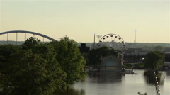 Mississippi River Flooding Downtown Park Stock Footage