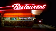 Stock Video Footage of The Crown Roadside Restaurant Cafe At Night