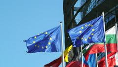 Firsts EU countries flags Stock Footage