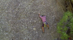 Rock climbing aerial Stock Video Footage Stock Footage