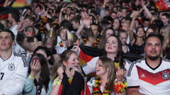 World Cup Audience German Team Fans Happiness Happy Supporters Singing Anthem - stock footage