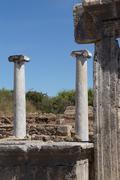 doric marble columns of the agora - stock photo