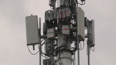 Radio and cellular communications tower Stock Footage