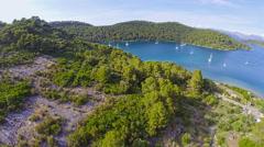 Village Polace on island Mljet, aerial Stock Footage