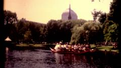 Boston Friends of the public garden swan boat vintage film historic Stock Footage