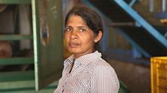 Portrait of woman working in the tea factory in Nuwara Eliya. Stock Footage
