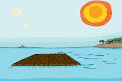 Empty raft in ocean Stock Illustration