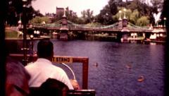 Boston Friends of the public garden people riding swan boat vintage film Stock Footage