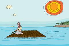 Shipwrecked man on raft Stock Illustration