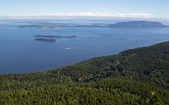 san juan islands and twin lakes in washington state on a summer day - stock photo