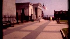 Bunker Hill Monument, Boston 1970s woman visting vintage film historic Stock Footage