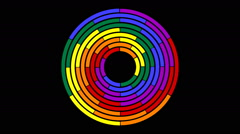 Rotating colored circle segments in seamless loop  4-49 Stock Footage