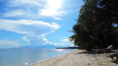 A tranquil morning at a Siquijor white sand beach - stock footage