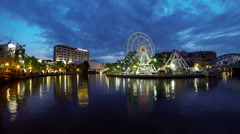 Ferris wheel and river in the night, Melaka, Malaysia. Time lapse. Stock Footage