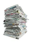 newspaper over white - stock photo