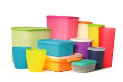 plastic container over white background - stock photo
