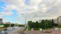 Panorama embankment. Time Lapse. 4K Stock Footage
