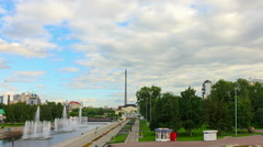 Iset River with a fountain. Time Lapse. 4K Stock Footage