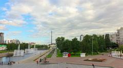 Panorama city waterfront. Time Lapse. 4K Stock Footage
