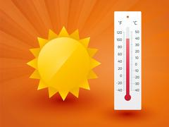 The yellow sun with thermometer Stock Illustration