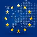 Stock Illustration of european union flag with a map of dots in the background